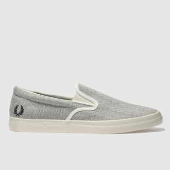 FRED PERRY LIGHT GREY UNDERSPIN SLIP ON TRAINERS