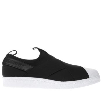 ADIDAS BLACK SUPERSTAR SLIP-ON TRAINERS