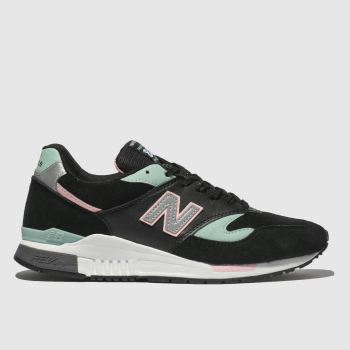 NEW BALANCE BLACK AND BLUE 840 TRAINERS