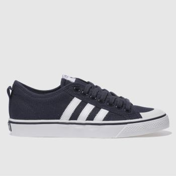 ADIDAS NAVY & WHITE NIZZA LOW TRAINERS