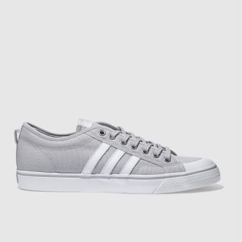 ADIDAS LIGHT GREY NIZZA LOW TRAINERS