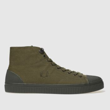 FRED PERRY KHAKI HUGHES MID TRAINERS