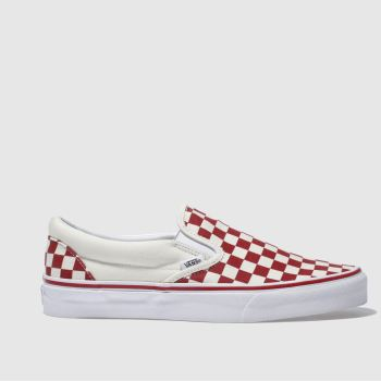 Vans Red Classic Slip-On Checkerboard Mens Trainers