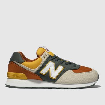 New Balance Beige & Orange 574 Trainers