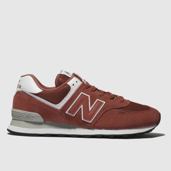 new products 3fd3e c1947 New Balance Orange 574 Mens Trainers