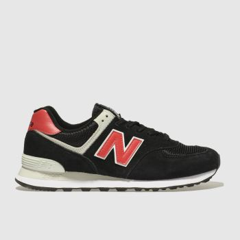 New Balance Black & Red 574 Mens Trainers