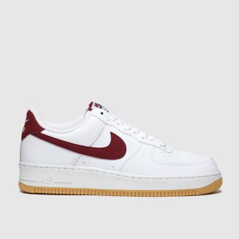 Nike White & Red Air Force 1 07 Mens Trainers