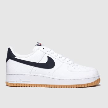 Nike White & Navy Air Force 1 07 Mens Trainers