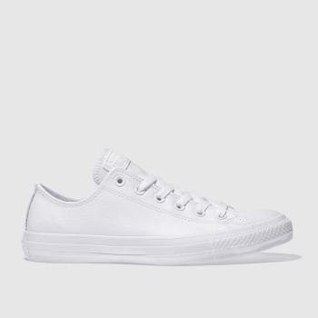 Converse White All Star Leather Mono Ox Mens Trainers#