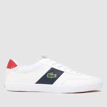 cfef84f73e7193 Lacoste White   Navy Court-Master Mens Trainers