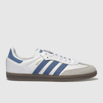 Adidas White & Blue Samba Og Mens Trainers