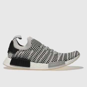 ADIDAS LIGHT GREY NMD_R1 STLT PRIMEKNIT TRAINERS