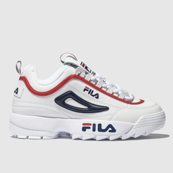 Fila White & Navy Disruptor Ii Premium Mens Trainers