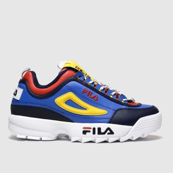 fila blue & yellow disruptor trek lace trainers