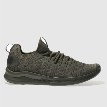 Puma Khaki Ignite Flash Evoknit Mens Trainers