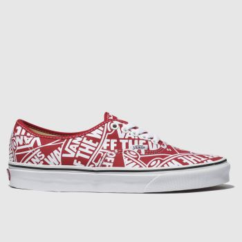 Vans White & Red Authentic Otw Mens Trainers