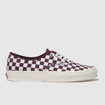 Vans White & Burgundy Authentic Mens Trainers