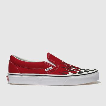 Vans White & Red Classic Slip-On Mens Trainers