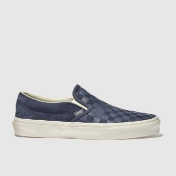 Vans Navy Classic Slip-On Checker Mens Trainers