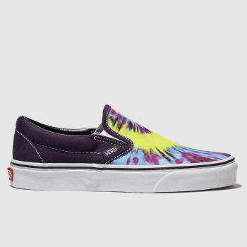 VANS PURPLE & YELLOW CLASSIC SLIP-ON TRAINERS