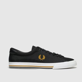 fred perry black & gold underspin trainers
