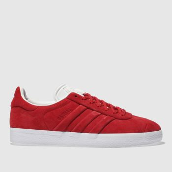 ADIDAS RED GAZELLE STITCH AND TURN TRAINERS