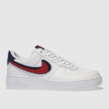 Nike White & Red AIR FORCE 1 07 LV8 Trainers