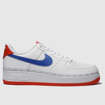sports shoes 3b4fa d2045 Nike White   Blue Air Force 1 07 Lv8 Mens Trainers