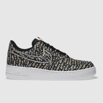NIKE BLACK & WHITE AIR FORCE 1 07 LV8 JDI TRAINERS