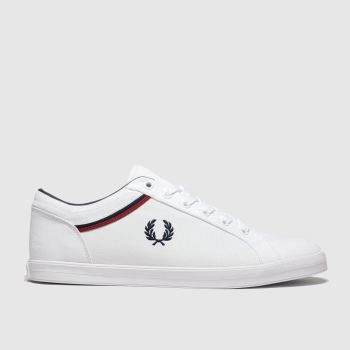 Fred Perry White & Navy Baseline Mens Trainers