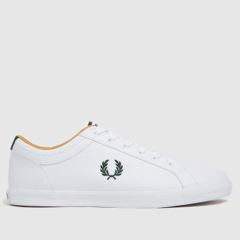 Fred Perry White & Green Baseline Trainers