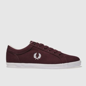 Fred Perry Burgundy Baseline Mens Trainers