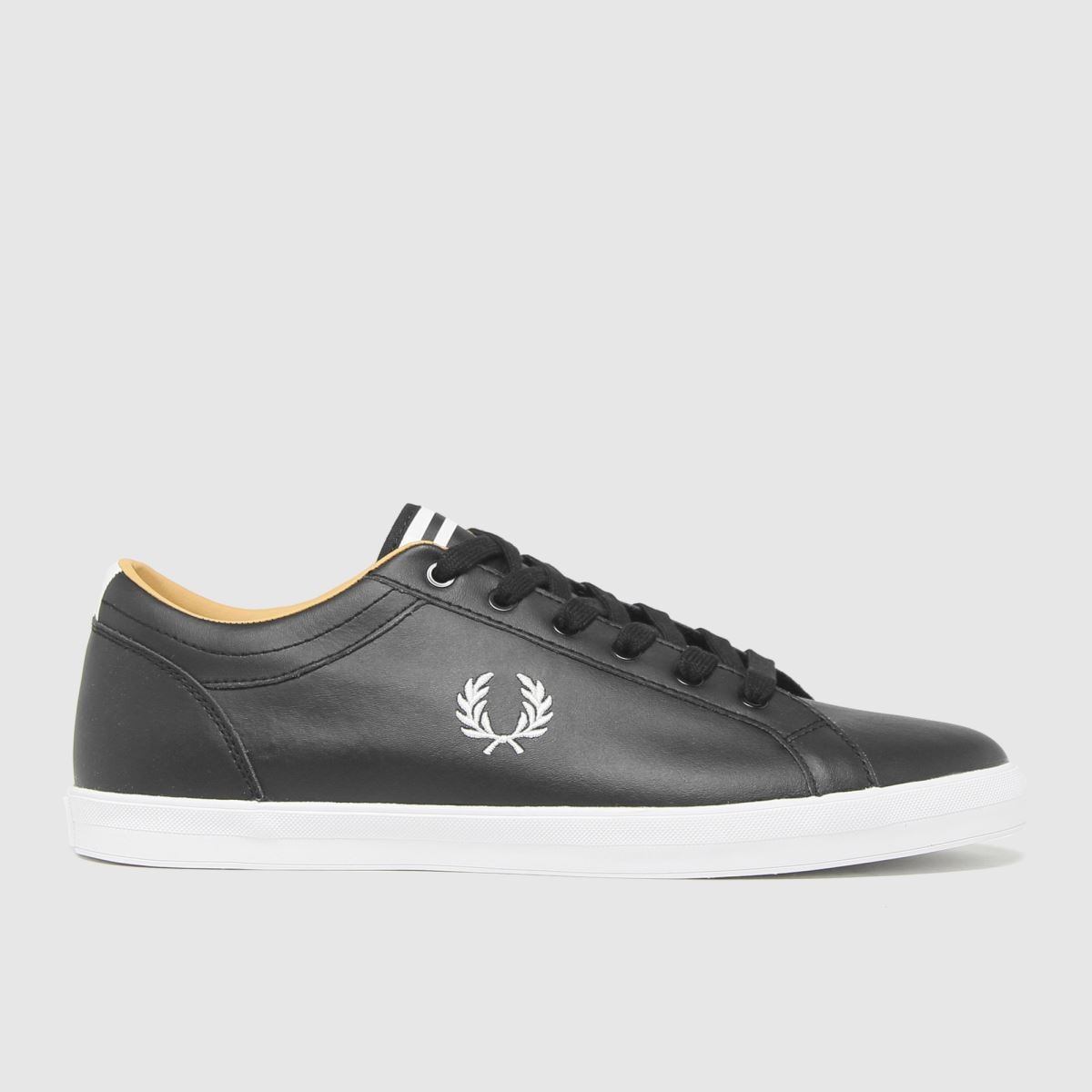 Fred Perry Black & White Baseline Leather Trainers