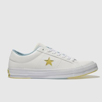 Converse White & Yellow One Star Ox Mens Trainers