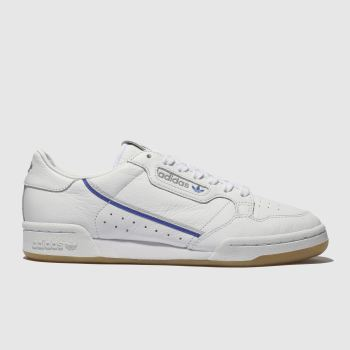 adidas white & blue continental 80 x tfl trainers