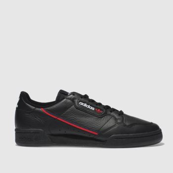 Adidas Black & Red Continental 80 Mens Trainers