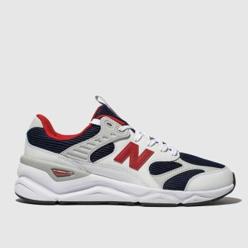 new balance white & navy x90 trainers