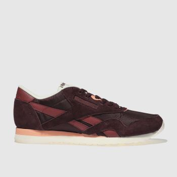 Reebok Burgundy Classic Nylon Retro Mens Trainers