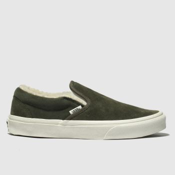 Vans Khaki Classic Slip-On Sherpa Mens Trainers