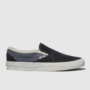 VANS NAVY CLASSIC SLIP-ON SHERPA TRAINERS