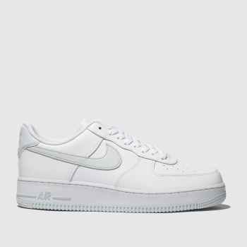 Nike White & Silver Air Force 1 07 Mens Trainers
