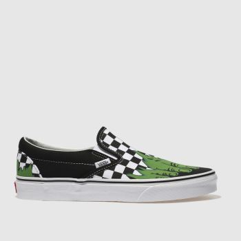 VANS BLACK & WHITE CLASSIC SLIP-ON MARVEL HULK TRAINERS