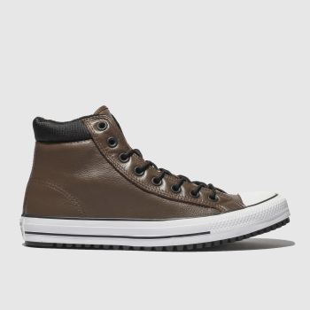 converse brown & black all star boot pc hi trainers