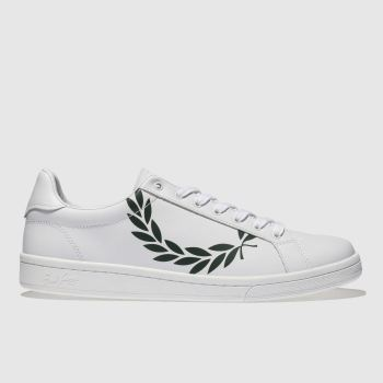 Fred Perry White & Green B721 Mens Trainers