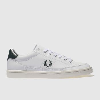 Fred Perry White & Green Deuce Mens Trainers