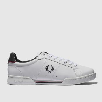Fred Perry White & Navy B7222 Leather Mens Trainers