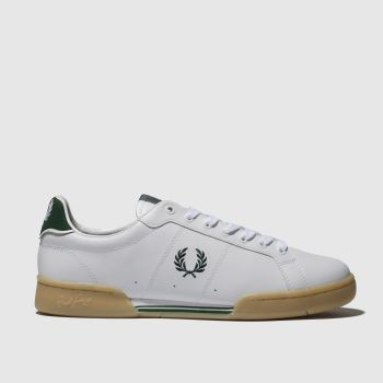fred perry white & green b7222 trainers