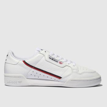 Adidas White & Red Continental 80 Mens Trainers