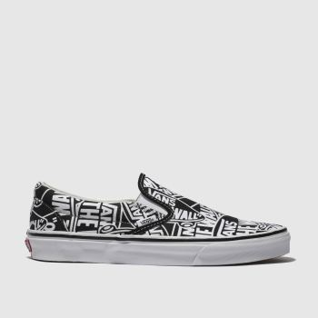 Vans Black   White Classic Slip-On Mens Trainers a7bfb219a5