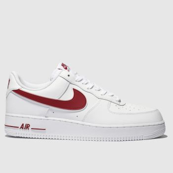 Nike White & Red Air Force 1 07 3 Mens Trainers